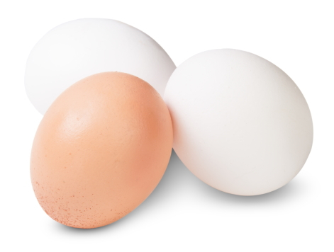 Two white eggs and one brown one